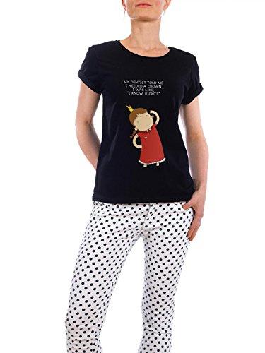 """Design T-Shirt Frauen Earth Positive """"crown"""" - stylisches Shirt Kindermotive Comic von Lingvistov Schwarz"""