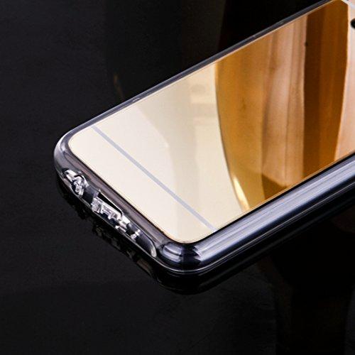 DBIT iPhone 7 Case, PU Pelle Flip Placcatura TPU Custodia Protezione Case Cover per Apple iPhone 7,Argento Argento - specchio TPU