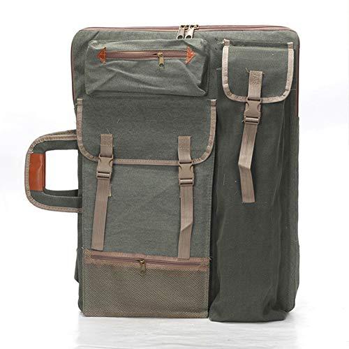 Canvas Painting Bag, 4K Artist Portfolio Plain Canvas Tote Bag for Painting Drawing Board Multifunktionaler Rucksack für Zeichnen Skizzieren Free Size armee-grün (Board Tote)