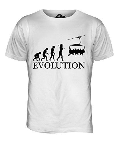 CandyMix Seilbahn Evolution Des Menschen Herren T Shirt Weiß