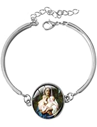 47b044a9559 Paris Francia Virgen María pulsera-Eartly Padre de Jesucristo Patrona San  San José Simulador de bolsillo con oración Grano Rosario…