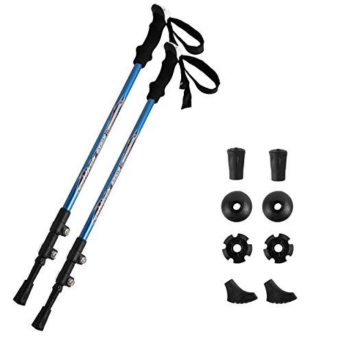 SZIVYSHI 1 par Fibra de Carbono Bastón de Trekking Plegable, Bastones de Senderismo Ultra Ligero Plegable Y Ajustable 60 à 130 cm