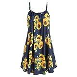 Yvelands Damen Sommerkleider Set Mode Kurzarm Bogen Knoten Verband Top Sunflower Print Minikleid Anzüge(Navy1,EU-36/M)