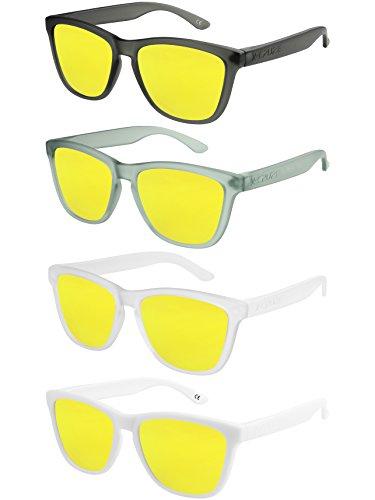 X-CRUZE 4er Pack X0 Nerd Sonnenbrillen polarisierend Vintage Retro Style Stil Unisex Herren Damen Männer Frauen Brillen Nerdbrille Nerdbrillen - gelb verspiegelt - Set W -