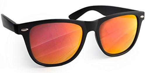 UVprotect® Sonnenbrille Wayfarer Design verspiegelt Schwarz Rot W02