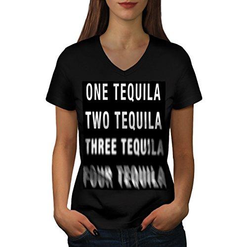 Uno Tequila Gracioso Humano Humor Women S V-Ausschnitt T-Shirt | Wellcoda (T-shirt-t-shirt Humor)