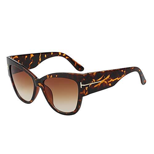 Zbertx Sonnenbrille Für Frauen Designer Mode Übergroße Vintage Sonnenbrille Sonnenbrille Retro Weibliche Flache Brillen,Brown Leopard