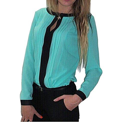 Damen Langarm Chiffon T-Shirts Tunika Oberteil Tops hemden Blusen mit Schleife Am Kragen (EU38(M), Grün)