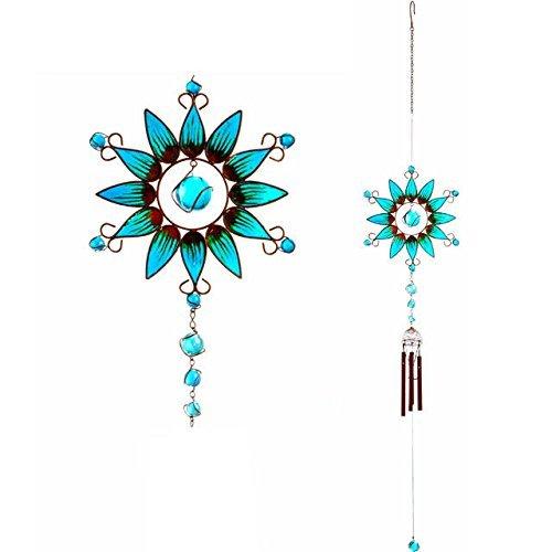 Windspiel bunte handgefertigt blau Spray mit Glas Bead Detail