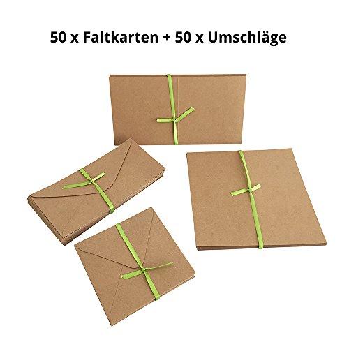 Jumbo Set, Umschläge und Faltkarten aus Naturkarton, 50 Karten + 50 Umschläge in quadratisch und DIN Lang, 100 Teile in einem Set, ideal zum Selbstgestalten - Faltkarte