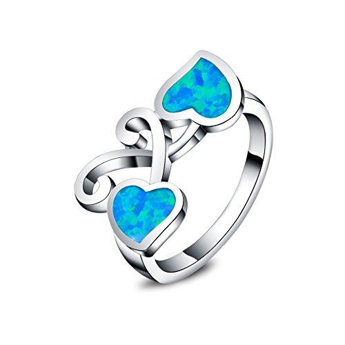 Anelli per donne a forma di cuore - In argento sterling 925 - Opale sintetici blu con orecchini (Misura anello 14,5)