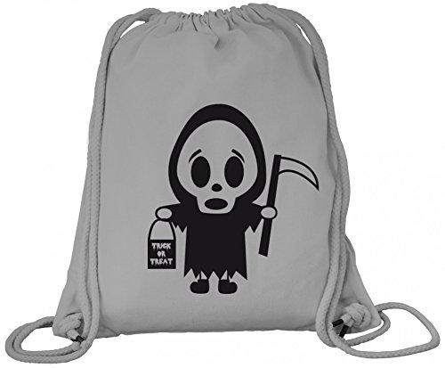 n Grusel Kostüm Premium Bio Baumwoll Turnbeutel Rucksack Stanley Stella Halloween - Sensenmännchen, Größe: onesize,Heather Grey (Grey Ghost Kostüm)