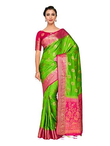 Mimosa Art silk Wedding saree Kanjivarm Pattu style With Contrast Blouse Color: Green (4310-328-2D-LRL-RNI)