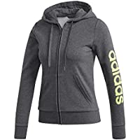 adidas W E Lin FZ HD Sweatshirt, Mujer, Dark Grey Heather/Signal Green, M