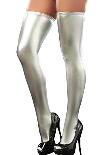 queenshinyr-frauen-im-wet-look-strumpfe-silber