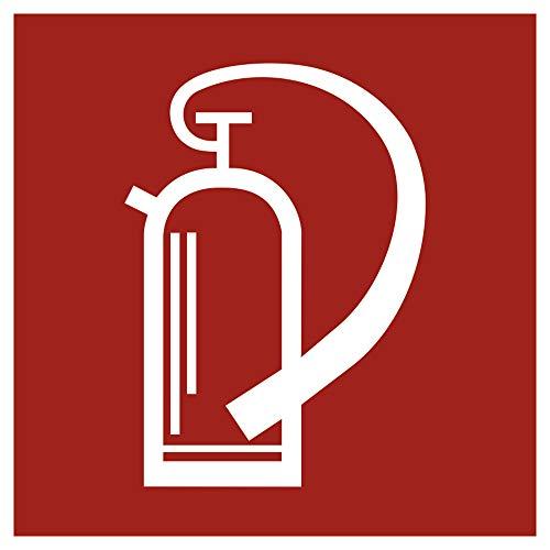 Aufkleber Feuerlöscher gemäß DIN 4844 Folie selbstklebend 14,8 x 14,8 cm (Brandschutz, Hinweisschild) wetterfest