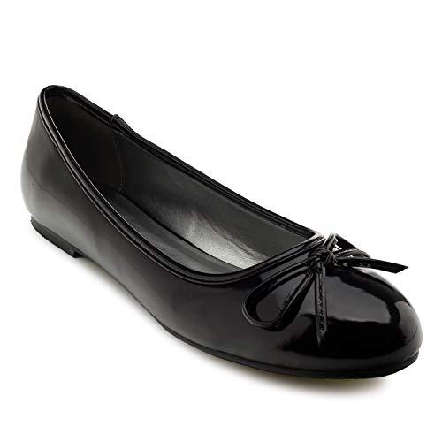 Andres Machado Damen Ballerinas, Schwarz - Black Patent. - Größe: 43 EU Black Patent Mary Jane