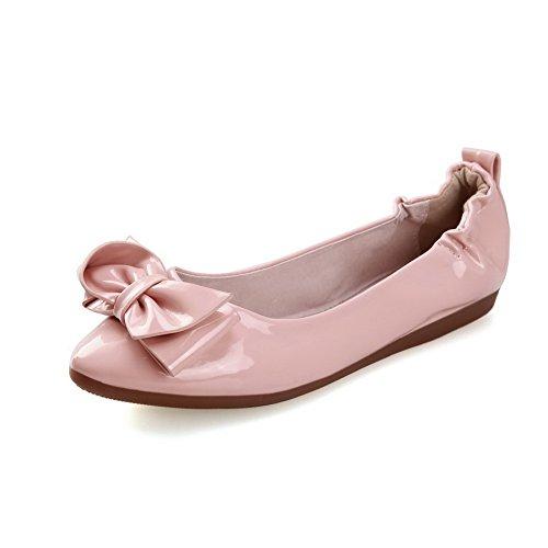 AllhqFashion Femme Rond Non Talon Verni Couleur Unie Tire Chaussures à Plat Rose