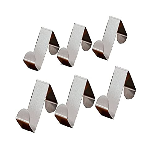 REY 6pcs Hooks Supper Strong Stainless Steel Over Door Cabinet Drawer Hooks Office Kitchen Towel Coat Hooks Rack