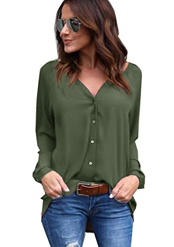 Yidarton Damen Bluse Chiffon Langarm Oberteile Elegante Mode Hemd Asymmetrisch Top (Grün, XL) (Langarm-bluse Grüne)