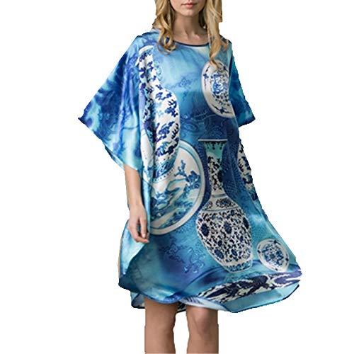 Damen Seiden Pyjama, Damen Seide Kimono Lange Gemustert Nachthemd Seide Tunika- Chinesische Malerei Landschaft,Blue-OneSize -