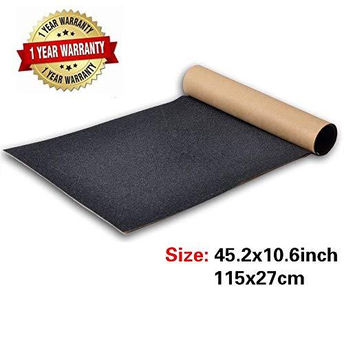 BooTaa Skateboard-Griffband, 104,3 x 26,9 cm, blasenfrei, wasserdicht, für Roller, Longboard-Griptape, Schleifpapier für Rollbrett, Treppen, Pistole, Rollstuhl, Stufen (110 x 27 cm), Black Grip Tape -