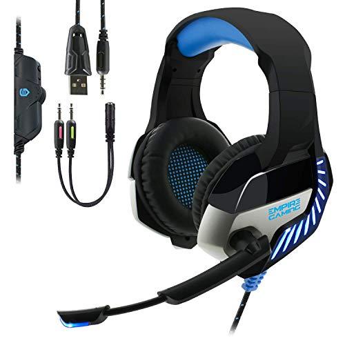 EMPIRE GAMING - H1200 Casque Gamer - Multiplateforme - Son stéréo Haute qualité - Micro Rétractable, Technologie de réduction de Bruit - Compatible avec PC, PS4, Xbox One, Nintendo Switch - Bleu