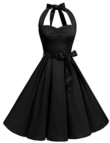 Bbonlinedress 1950er Neckholder Vintage Retro Rockabilly Cocktail Party Kleider Black 2XL