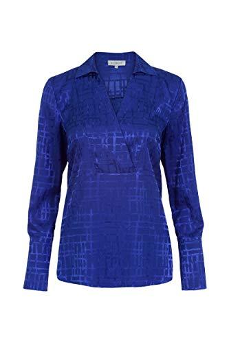Promiss Damen Tapes - Elegante Bluse Mit Abstraktem Steppmuster In Jacquardoptik Kobalt, 038