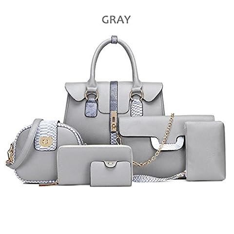 Kolylong 6 Bags/set Women Multi-purpose Purse Leather Leatherette Shoulder Handbag (Gray)