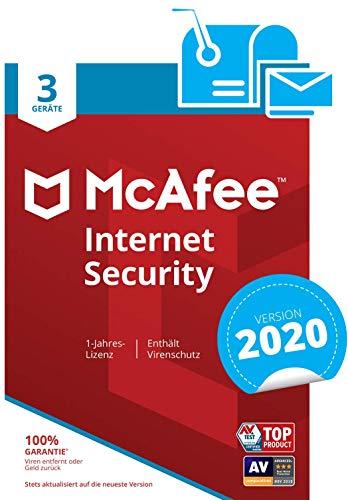 McAfee Internet Security 2020 | 3 Geräte | 1 Jahr | PC/Mac/Smartphone/Tablet | Aktivierungscode per Post
