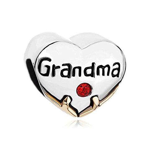 """Korliya - pendente per braccialetti a forma di cuore con scritta """"grandma"""" e brillantino rosso"""