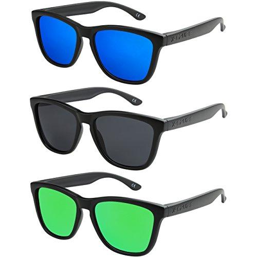 X-CRUZE 3er Pack X0 Nerd Sonnenbrillen polarisierend Vintage Retro Style Stil Unisex Herren Damen Männer Frauen Brillen Nerdbrille Nerdbrillen - schwarz matt - Set C -