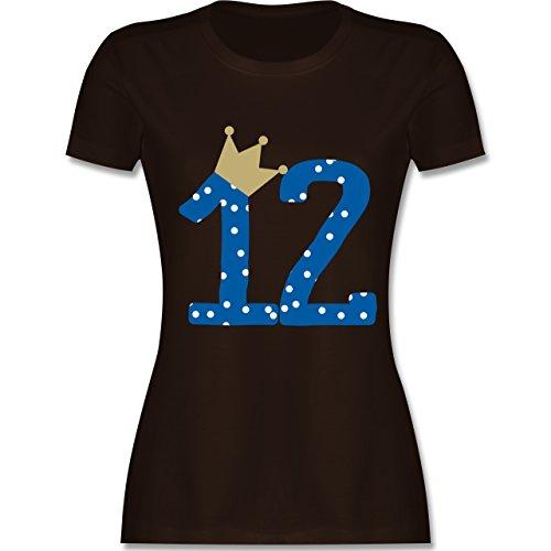 Geburtstag - 12. Geburtstag Krone Junge Zwölfter - tailliertes Premium T-Shirt mit Rundhalsausschnitt für Damen Braun