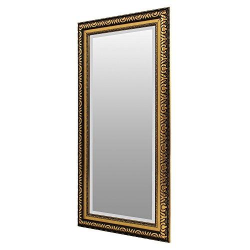Goldener Spiegel Wandspiegel Barspiegel Flurspiegel Garderobenspiegel Frisierspiegel mit Facettenschliff und Verzierungen - 104x53cm