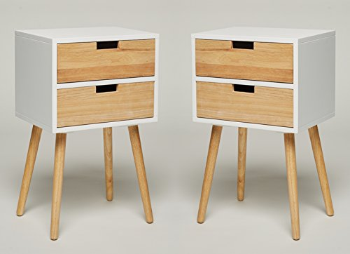2 piezas: GREEN SPIRIT Mesita de noche de madera en blanco con dos cajones - Consola mesa auxiliar - Retro Look