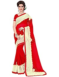 Active Women's Georgette & Net Ribbon & Handwork Saree With Unstiched Blouse Piece