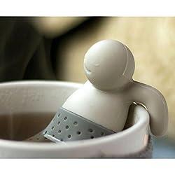 iNeibo Infuseur à Thé - Filtre Thé en Silicone 100% Alimentaire sans BPA | Set de 2 (Rose, Gris)