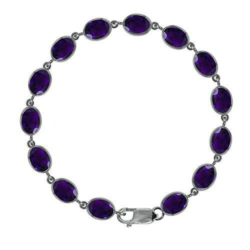 Beautiful Jewellery Company BJC 9 CT Oro Blanco Amatista Natural Tenis Brazalete 21,00 de la CT Caja de Regal