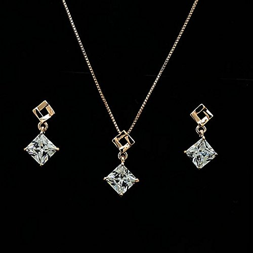 Museya Delicate Womens Ladies Crystal Rhinestone Square Pendant Necklace Matching Earrings Jewelry Set (Rosy Gold+White)