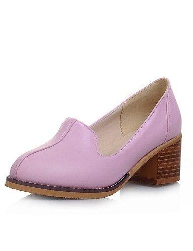 ZQ Damenschuhe - High Heels / Halbschuhe - L?ssig - Kunstleder - Blockabsatz - Abs?tze / Rundeschuh - Schwarz / Rosa / Lila / Wei? purple-us8 / eu39 / uk6 / cn39