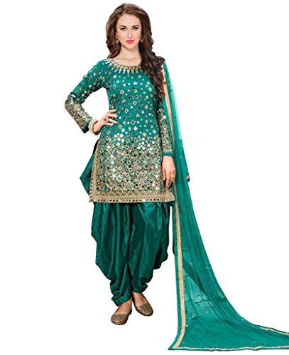 SareeShop Women's Silk & Georgette Indo-Western Straight Salwar Suit Sets (SabiraFirozi_Turquoise)