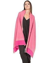 Herringbone Handwoven Textured Merino Wool Pashmina Scarf Pink