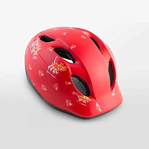 MET Super Buddy Fahrrad Helm Baby Kleinkinder Fahrrad Scooter Kindersitz Hänger Halbschale, MTO, Farbe Tiere - Rot, Größe 46-53 cm