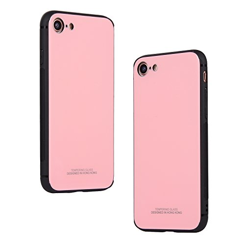 Preisvergleich Produktbild Mode Stil Hülle für iPhone 7 Plus, iPhone 8 Plus Hülle Weiches Silikon Stoßstange Schutz + Harte PC Schicht + Kristall klar Gehärtetes Glas Zurück Hülle 3 in 1 [Ultra dünn], Shinyzone Fortgeschritten Stoßfest Anti-Scratch Schutzhülle für iPhone 7 Plus / 8 Plus 5.5 zoll-Rosa