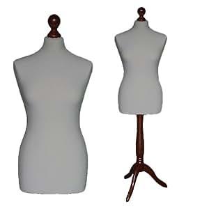 LUK-MAL Buste de couture Mannequin femme 46/48 Housse gris argent Pied ébène