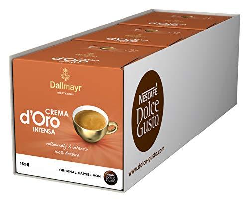 NESCAFÉ Dolce Gusto Dallmayr Crema d\'Oro intensa (48 Kaffeekapseln, Intensität 9 von 12, 100{6c9820dced4414192e03f5af9e81f34e3c78bf50a4c3f34cc812291dabba13a6} Arabica-Bohnen) 3er Pack (3 x 16 Kapseln)