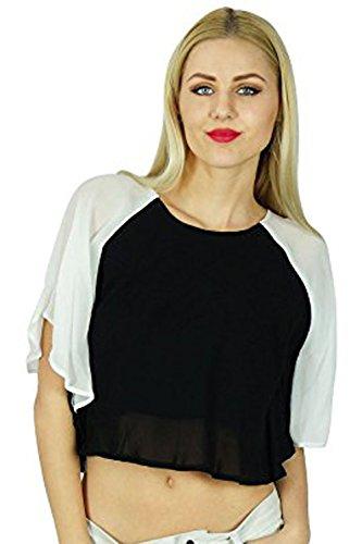 Bimba Frauen-Schwarze Georgette Crop Top Spitzenshorts Kimono-Bluse Chic Kleidung -