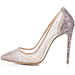 uBeauty Damen High Heels Stilettos Spitze Zehenkappe Elegante Pumps Hochzeit Tanzen Mesh Lady Schuhe Silber 36 EU