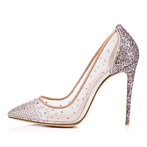 uBeauty Damen High Heels Stilettos Spitze Zehenkappe Elegante Pumps Hochzeit Tanzen Mesh Lady Schuhe Silber 41 EU